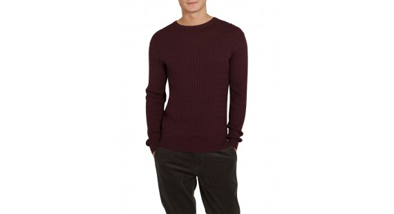 Sweater Cotton Cable Wine