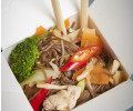 073. Fried buckwheat noodles with chicken, egg and vegetables