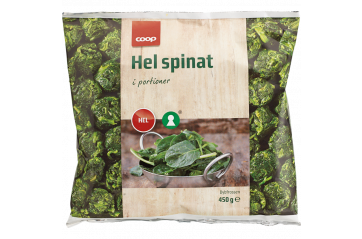 Coop Whole spinach frozen 450 gr
