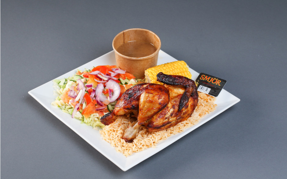 18. 1/2 grilled chicken with rice